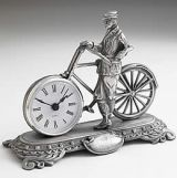 Western Union Sporting Gent Clock cast in pewter
