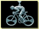 Racing Man (Wiggo!) and Bike silver brooch