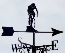 Racing Man cycling themed weather vane