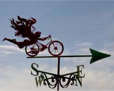 Flying Lady bicycle themed weather vane