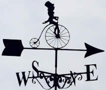 Penny Farthing bicycle themed weather vane
