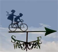 Sweetheart Travellers bicycling themed weathervane